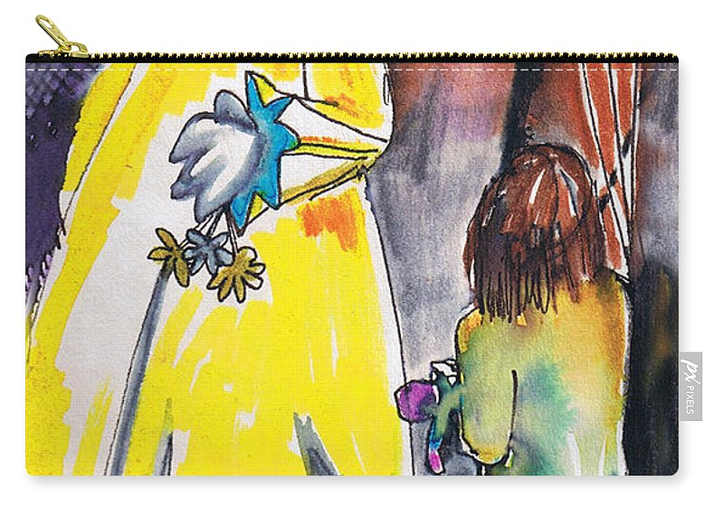 Watercolor Carry-all Pouch featuring the painting Spooky Old Clown by Seth Weaver