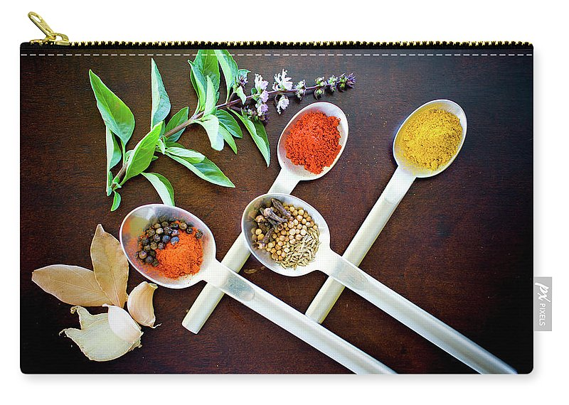Food Carry-all Pouch featuring the photograph Spoons N Spices 3 by Ferry Zievinger