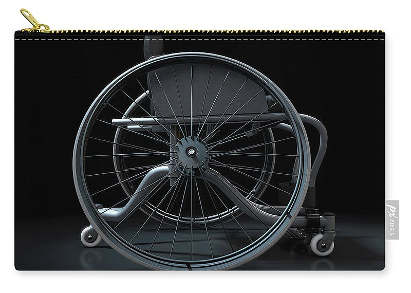 Wheelchair Carry-all Pouch featuring the digital art Sports Wheelchair by Allan Swart