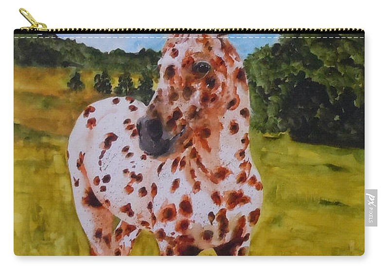 Horse Carry-all Pouch featuring the painting Spotted in Hawaii by Jean Blackmer