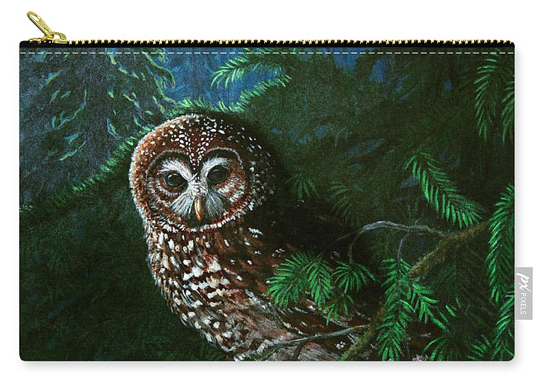 Owl Carry-all Pouch featuring the painting Spotted Owl In Ancient Forest by Nick Gustafson