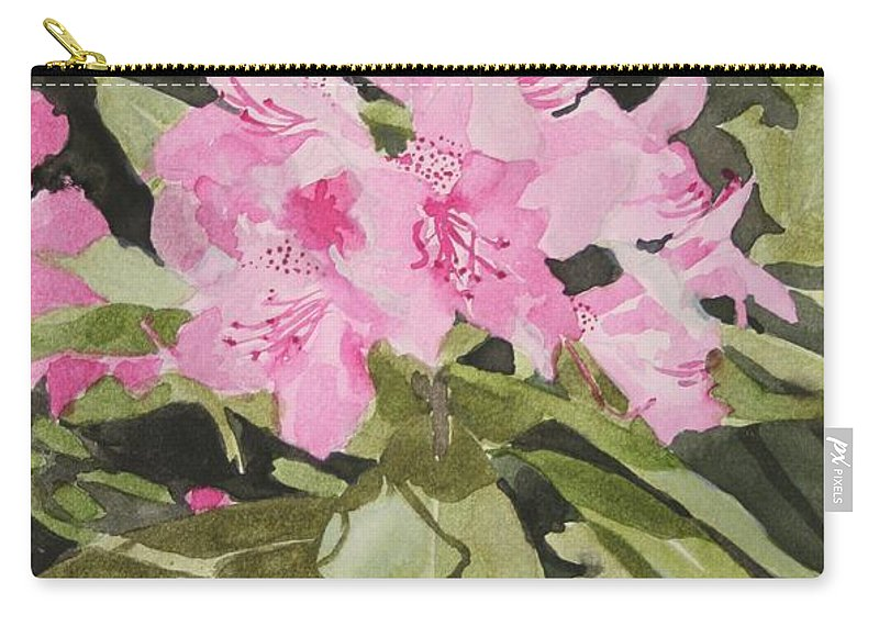 Flowers Carry-all Pouch featuring the painting Spring At The Cabin by Jean Blackmer