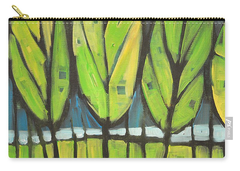 Spring Carry-all Pouch featuring the painting Spring At The Lake by Tim Nyberg