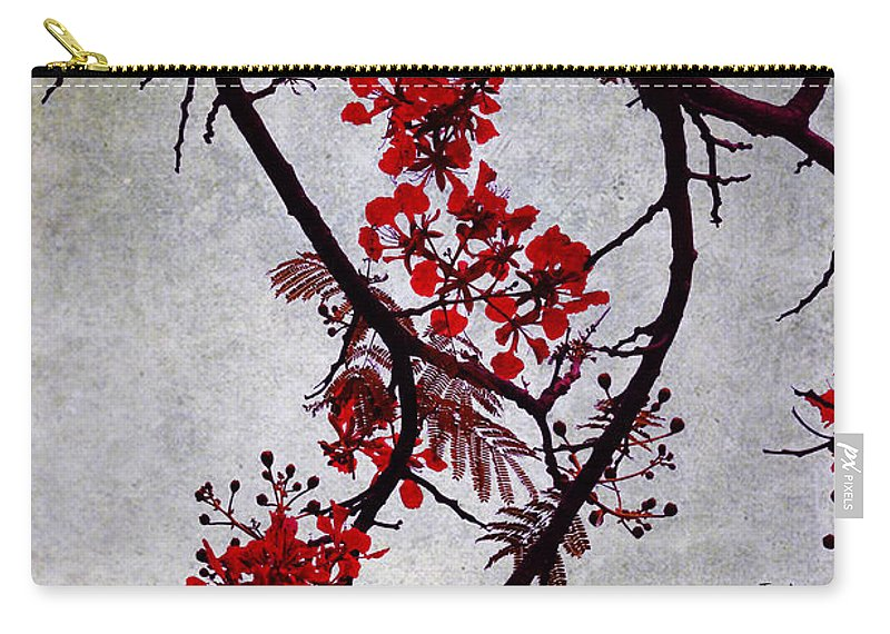 Jenny Rainbow Fine Art Photography Carry-all Pouch featuring the photograph Spring Bloosom In Maldives. Flamboyant Tree II. Japanese Style by Jenny Rainbow