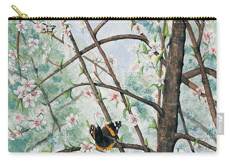 Butterfly Carry-all Pouch featuring the painting Spring Blossom by Mary Tuomi