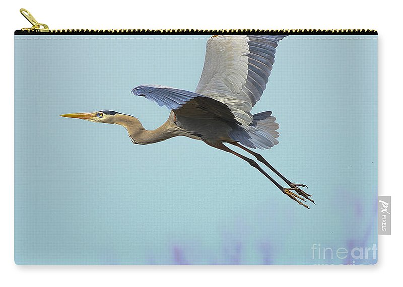 Heron Carry-all Pouch featuring the photograph Spring Blue 2009 by Deborah Benoit