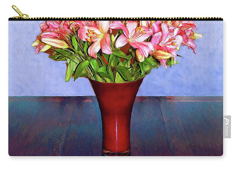 Flowers Carry-all Pouch featuring the mixed media Spring Bouquet by Dominic Piperata