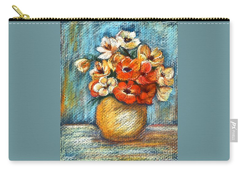 Stilllife Carry-all Pouch featuring the drawing Spring Bouquet by Portraits By NC
