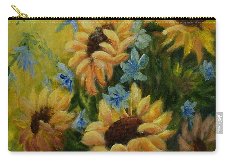 Daisies Carry-all Pouch featuring the painting Sunflowers Galore by Joanne Smoley