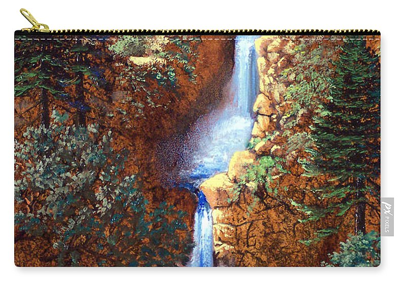 Wilderness Carry-all Pouch featuring the painting Spring Cascade by Frank Wilson