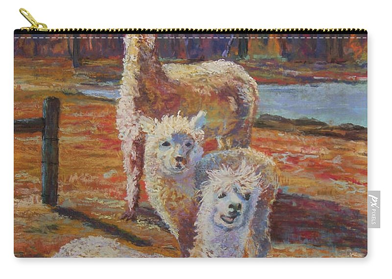 Alpaca Carry-all Pouch featuring the pastel Spring Celebration - Mothers And Child by Alicia Drakiotes