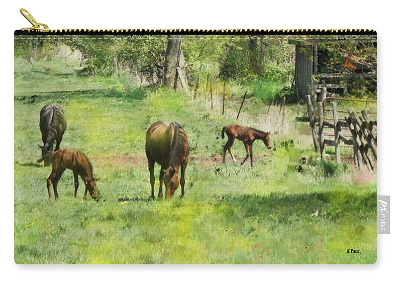 Spring Colts Carry-all Pouch featuring the digital art Spring Colts by John Beck
