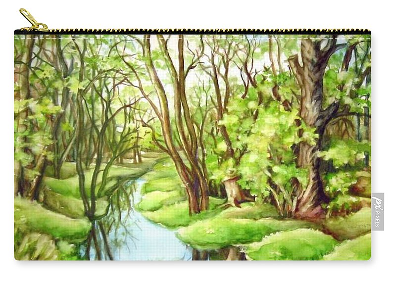 Spring Watercolour Carry-all Pouch featuring the painting Spring Creek by Inese Poga