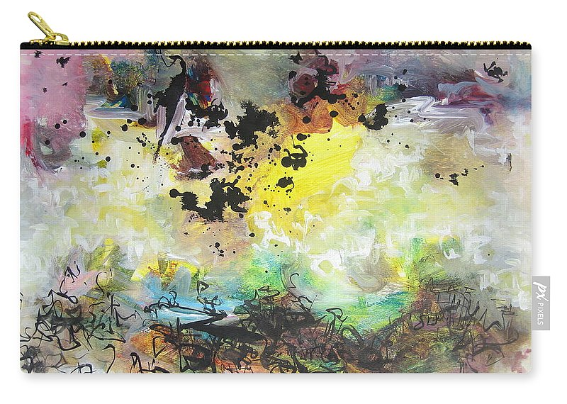 Yellow Purple Paintings Carry-all Pouch featuring the painting Spring Fever19 by Seon-Jeong Kim