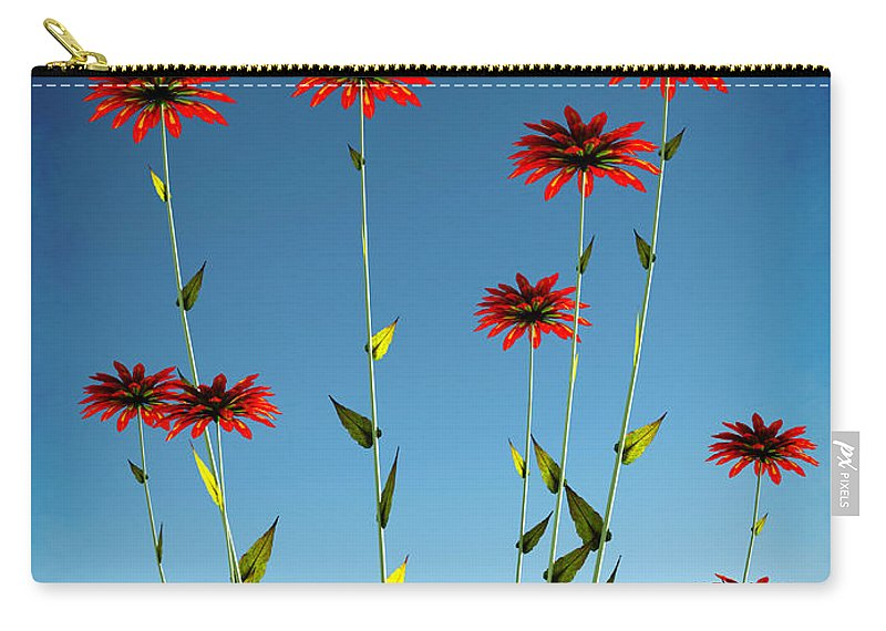 Red Carry-all Pouch featuring the digital art Spring Fireworks... by Tim Fillingim