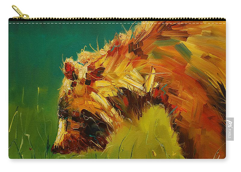 Bear Carry-all Pouch featuring the painting Spring Flower Bear by Diane Whitehead