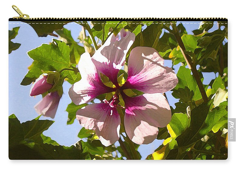 Flower Carry-all Pouch featuring the painting Spring Flower Peeking Out by Amy Vangsgard