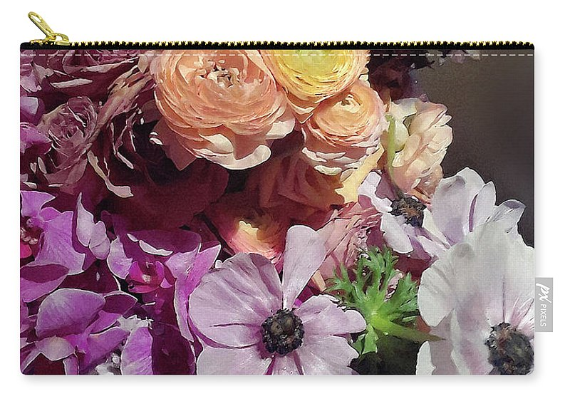 Spring flowers purple and yellow accent bouquet carry all pouch for spring flowers carry all pouch featuring the digital art spring flowers purple and yellow accent mightylinksfo