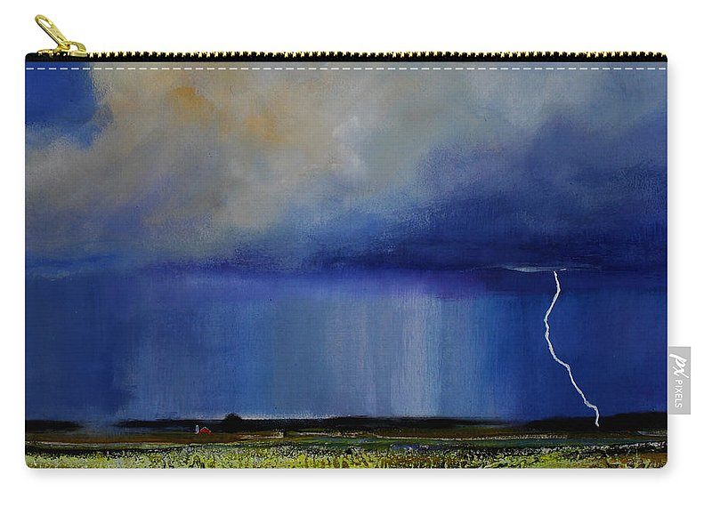 Clouds Carry-all Pouch featuring the painting Spring Green Pastures by Toni Grote