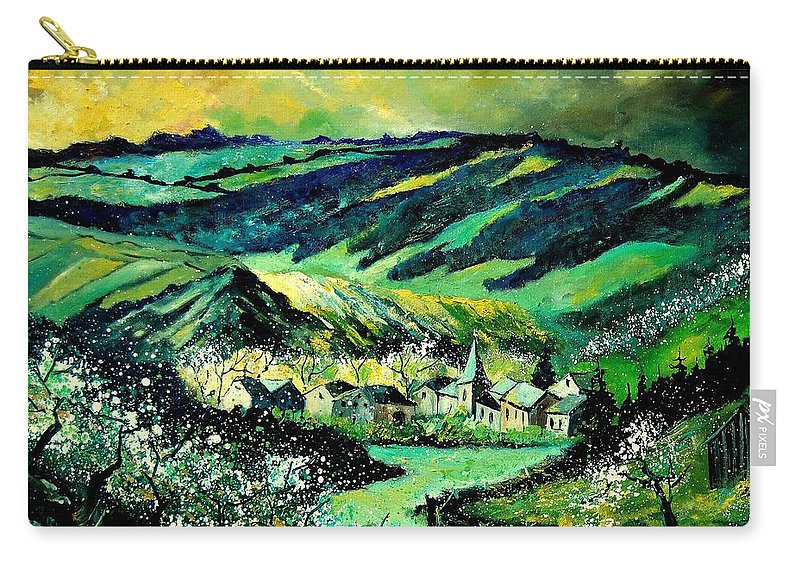 Landscape Carry-all Pouch featuring the painting Spring In Tha Ardennes by Pol Ledent