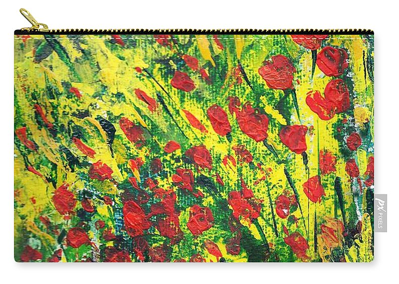 Spring Flowers Carry-all Pouch featuring the painting Spring In The Air by Asha Sudhaker Shenoy