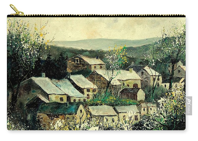 Spring Carry-all Pouch featuring the painting Spring In The Ardennes Belgium by Pol Ledent