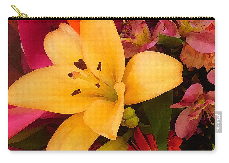 Lily Carry-all Pouch featuring the painting Spring Lily Bouquet by Amy Vangsgard