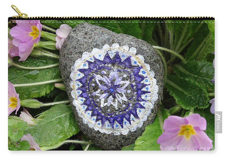 Spring Carry-all Pouch featuring the pyrography Spring Mandala by Vania