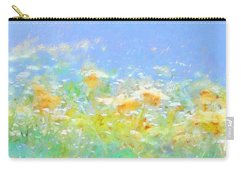 Spring Meadow Abstract Carry-all Pouch featuring the painting Spring Meadow Abstract by Menega Sabidussi