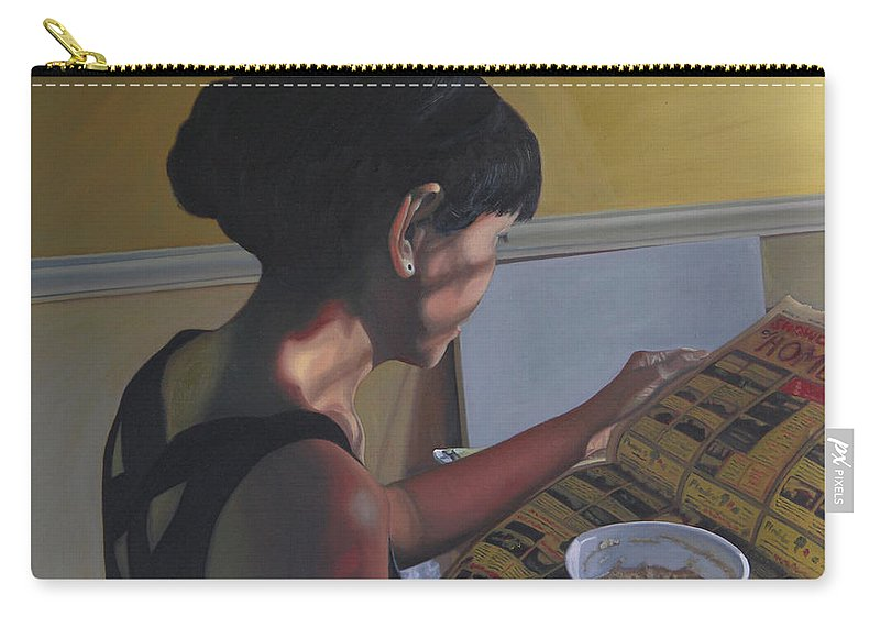Women Reading Newspaper Carry-all Pouch featuring the painting Spring Morning Cabot Arkansas by Thu Nguyen