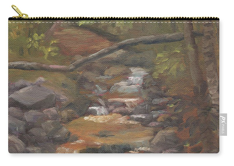 Waterfall Carry-all Pouch featuring the painting Spring on the Gale River by Sharon E Allen
