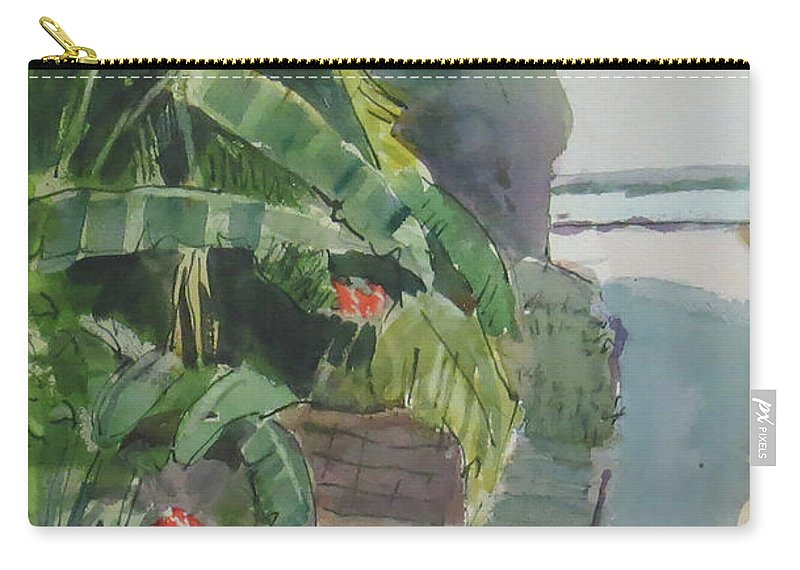 Green Carry-all Pouch featuring the painting Spring Palms by Thomas Tribby