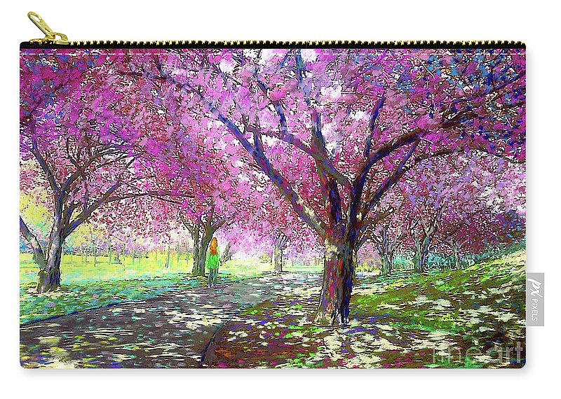 Sun Carry-all Pouch featuring the painting Cherry Blossom by Jane Small