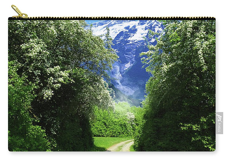Spring Carry-all Pouch featuring the digital art Spring Road To Mountains by Alex Lim
