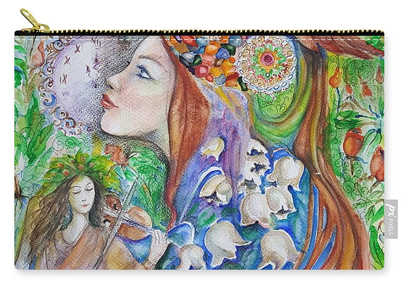 Lilies Of The Valley Carry-all Pouch featuring the mixed media Spring Song by Rita Fetisov