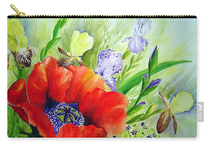 Poppy Iris Floral Painting Carry-all Pouch featuring the painting Spring Splendor by Joanne Smoley