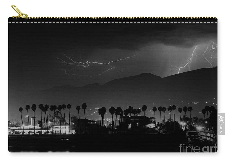 Lightning Carry-all Pouch featuring the photograph Spring Storm Santa Barbara-signed by J L Woody Wooden