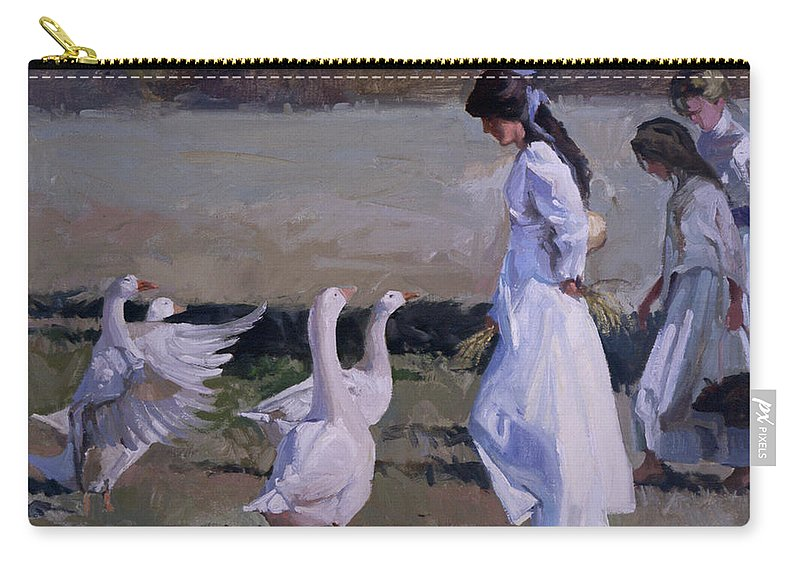 Women In White Carry-all Pouch featuring the painting Spring Temptress by Betty Jean Billups
