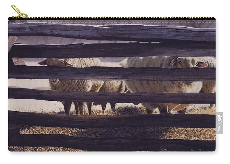 Sheep Carry-all Pouch featuring the painting Spring Thaw by Denny Bond