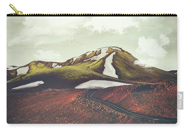 Landscape Spring Winter Dreamscape Hills Mountains Carry-all Pouch featuring the digital art Spring Thaw by Katherine Smit