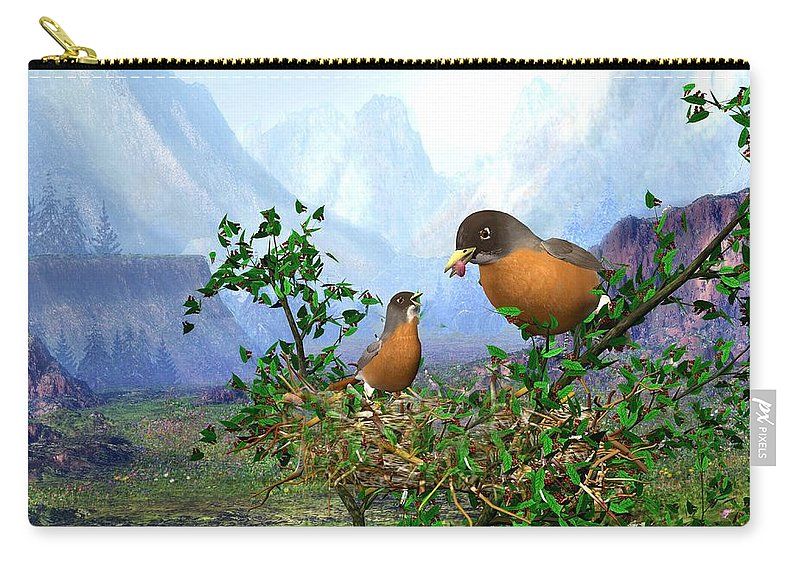 Spring Time Robins Bird Carry-all Pouch featuring the digital art Spring Time Robins by John Junek