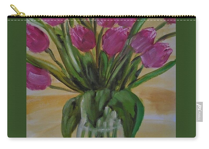 Tulips Carry-all Pouch featuring the painting Spring Tulips by Angela Cartner