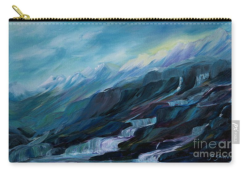 Spring Water Trickling Down Mountains Carry-all Pouch featuring the painting Spring Water by Joanne Smoley