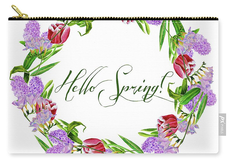 Design Carry-all Pouch featuring the digital art Spring Wreath by Natalia Piacheva