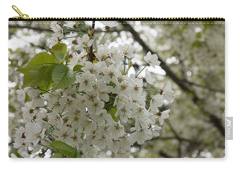 Georgia Mizuleva Carry-all Pouch featuring the photograph Springtime Abundance - Masses Of White Blossoms by Georgia Mizuleva