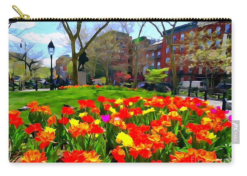 Digital Art Carry-all Pouch featuring the photograph Springtime At Abingdon Square Park by Ed Weidman