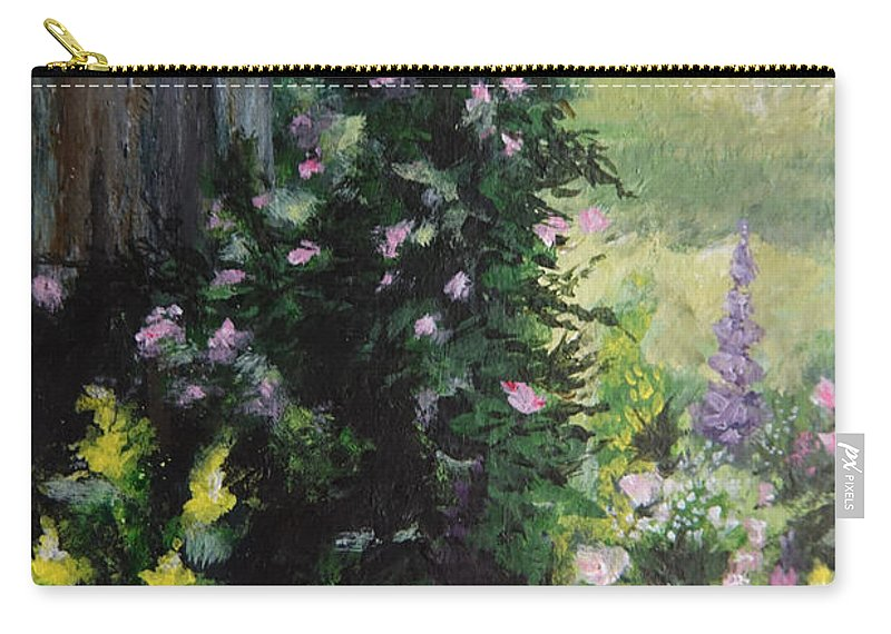 Flower Painting Carry-all Pouch featuring the painting Springtime At The Cabin by Elizabeth Waitinas