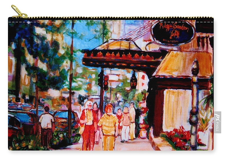 Montreal Streetscenes Carry-all Pouch featuring the painting Springtime At The Ritz by Carole Spandau