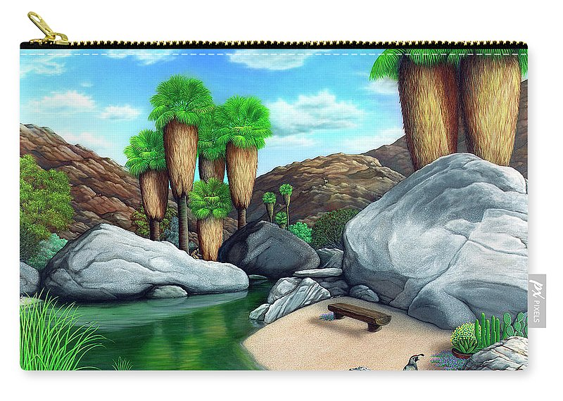 Landscape Carry-all Pouch featuring the painting Springtime In The Canyons by Snake Jagger