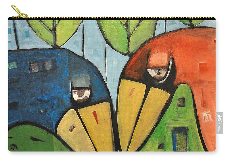 Birds Carry-all Pouch featuring the painting Springtime Lovebirds by Tim Nyberg